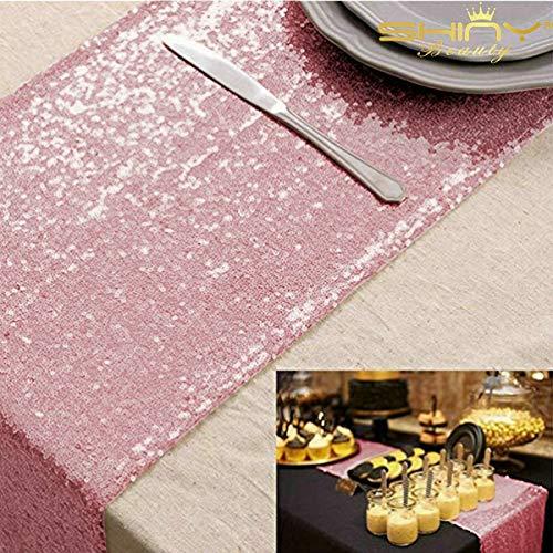 shinybeauty Sparkly Rosa Gold Pailletten Tischläufer für Hochzeit/Events Dekoration 30 * 180 cm (kann wählen Sie Ihre Farbe)
