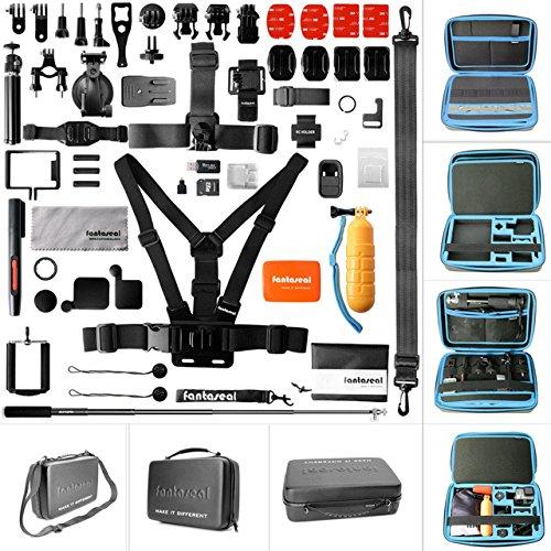 Fantaseal® 50pcs Kit Professionnel Sport Caméra Trousse Outillage Accessoires, 13'' PU 2-Couche Etui de Transport Imperméable pour GoPro Hero 4/ Session / Hero 3+/ Hero 3 (13', SAC BLEU)