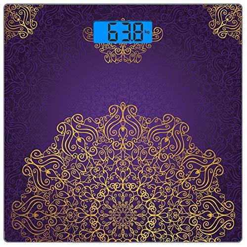 Präzisions-Digital-Körpergewicht-Waage Mandala Ultra Slim Gehärtetes Glas-Personenwaage Genaue Gewichtsmessungen, Vintage-Ornament mit östlichen osmanischen künstlerischen Motiven Revival Swirling Des -