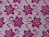 Metallic Muster, Spitze Kleid Stoff magenta–Meterware