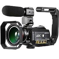 Camescope 4k de Vision Nocturne Caméra Vidéo Ultra HD (écran Tactile IPS de 3,1 Pouces, Microphone, Objectif Grand Angle, Pare-Soleil et Stabilisateur Portable)