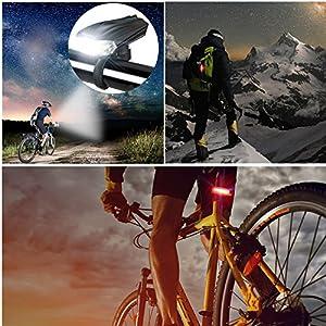 MONTOP Luces Bicicleta Delantera y Trasera, LED Luz Bicicleta, USB Recargable Luz Bici, Impermeable Linterna Bicicleta, Super Brillante Luces LED Bicicleta, Intermitentes Bicicleta con Batería…