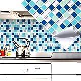 4er Set 25,3 x 25,3 cm Grandora Mosaik 3D Fliesenaufkleber W5200 selbstklebend Küche Bad Wandaufkleber Fliesendekor Folie blau türkis silber