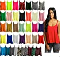 Ladies New Camisole Cami Plain Strappy Swing Vest Top Flared Sleeveless
