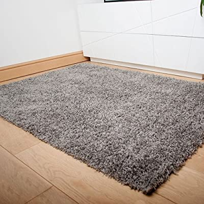 Silvery Grey Dominica Quality Deep Pile Shaggy Rug - low-cost UK light store.