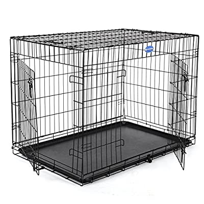 "Songmics Dog Puppy Cage Foldable Metal Pet Carrier 2 Doors with Tray 24"" 30'' 36"" 42'' 48'' (Alternative colors)"