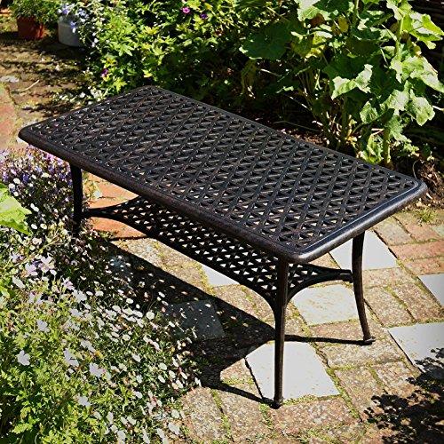 Lazy Susan – GRACE Gartenbank und CLAIRE Rechteckiger Garten Beistelltisch – Gartenmöbel Set aus Metall, Antik Bronze (Blaues Kissen) - 4