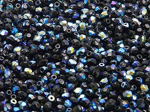 100pcs Tchèque facettes perles de verre, Fire-Polished Beads, ronde 3mm Jet Black AB