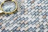 10cm x 10cm Muster. Glas Mosaik Fliesen Muster in Weiß, Blau und Silber in Glas und Naturstein. Texturiert Ziegelstein Effekt (MT0125 Muster)