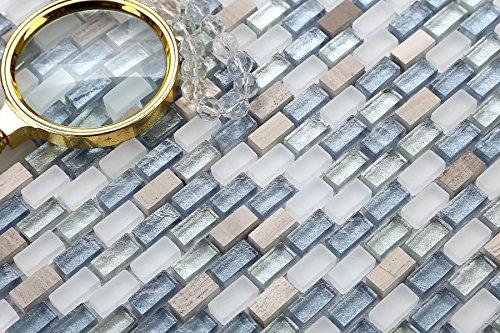 Patrón de 10x 10cm. Cristal azulejos mosaico en blanco, azul y pl