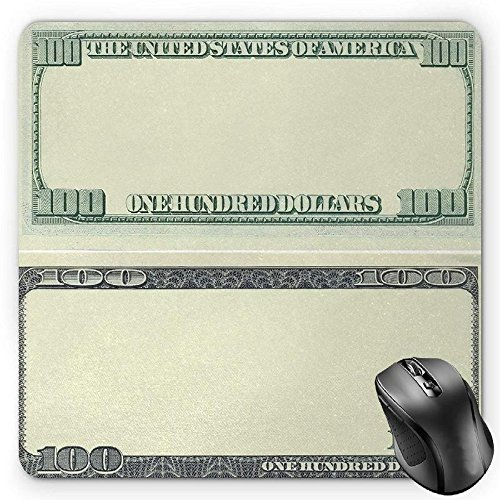 HYYCLS Money Mauspads, Hundred Dollar Bill Century Note Design American Currency Style Frame Pattern, Standard Size Rectangle Non-Slip Rubber Mousepad, Pale Green Grey