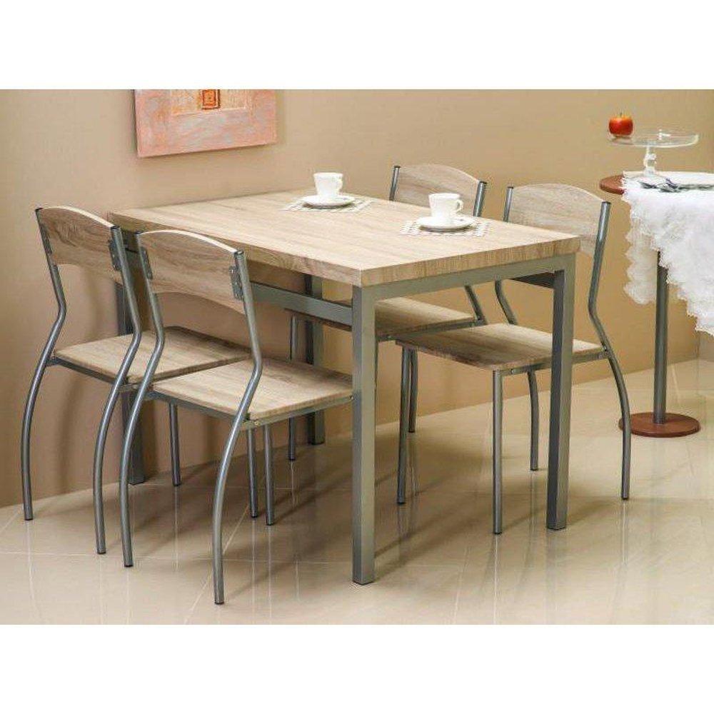 Justyou Astro Table De Salle A Manger 4 Chaises Aluminium Sonoma