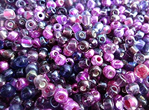 50g of 6/0 Seed Beads and Seed Bead Mixes - Choice of Colours and Finishes - 1st4Beads (TM) - (Amethyst/Purple Mix)