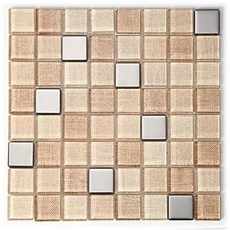 Mosaico de Vidrio en Malla DEC-00000000126, Beige, 6 mm, 30 x 30 cm