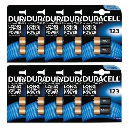 Duracell Ultra Kamera-Batterien (123/ 123A/ DL123A/ CR123A, 3 V), 20 Stü ck Duracell Lithium 123