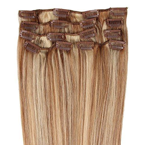 Beauty7 Extensions de cheveux humains à clip 100% Remy Hair 12/613# Couleur Chatain clair/Blond très clair Longueur 38 cm Poids 70 grams
