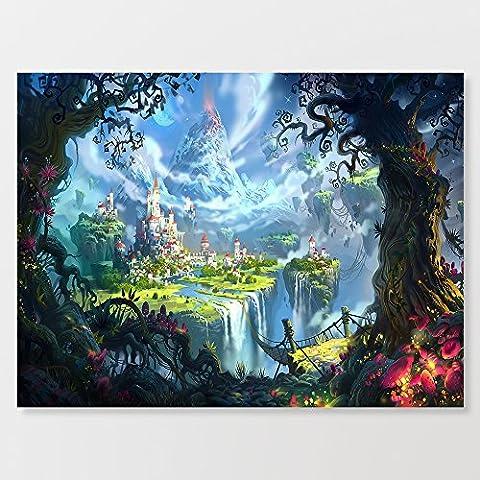 Dream Royaume Cascade sur toile Paysage 40,6x 61cm prête à suspendre