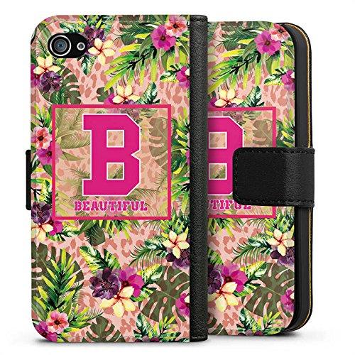 Apple iPhone X Silikon Hülle Case Schutzhülle College Beautiful Blumen Sideflip Tasche schwarz