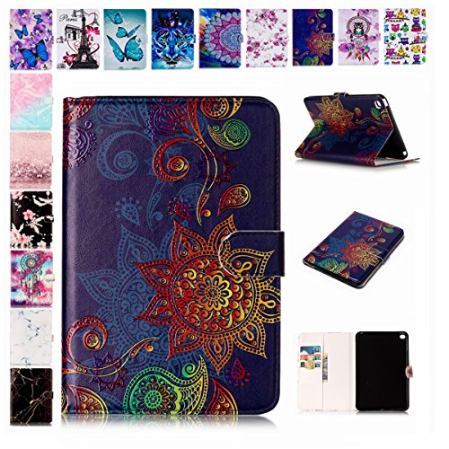 E-Mandala Apple iPad 2018/2017 / Air/Air 2 Hülle Leder Flip Case Tablet PC Tasche mit Kartenfach Ledertasche Lederhülle - Mandala Blumen Henna