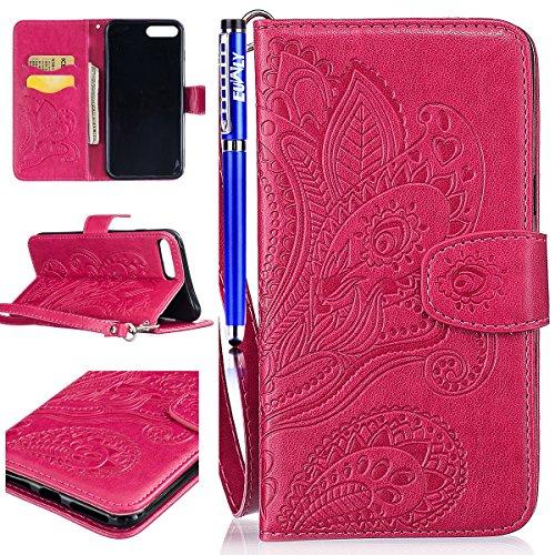 EUWLY Custodia Portafoglio per iPhone 7 Plus/iPhone 8 Plus (5.5) PU Pelle Wallet Custodia Caso Bookstyle Goffratura Fiore di Pavone Premium Morbido PU Leather Shell Custodia Case Retro Modello Fiori  Rosa Caldo