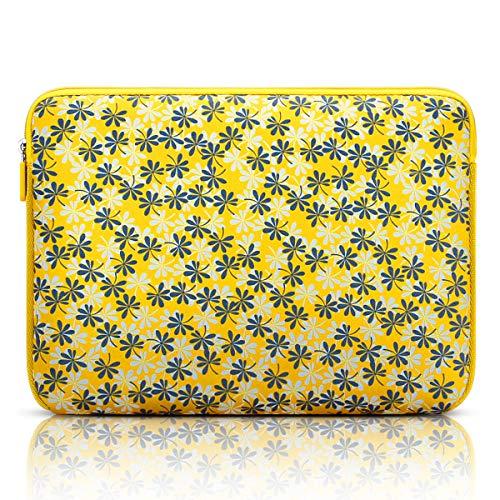 Arvok 15 15,6 16 Zoll Laptoptasche Schutzhülle Wasserfest Neoprene, Gelb mit Blume