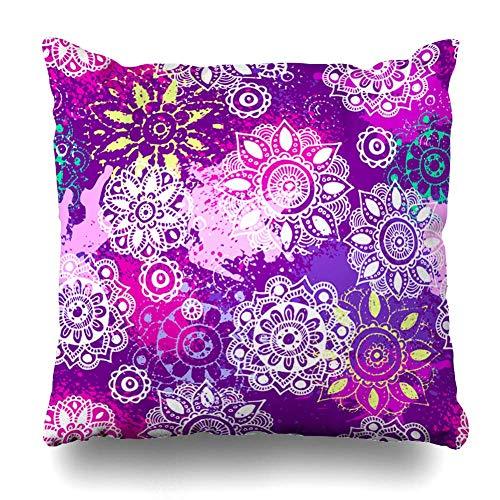 Pillow Home Copri Cuscino copridivano Shabby Antique Indian Ottoman Blossom Arabesque Boho Chic Design Decor Cuscino con Cerniera Case 16'x16 Fodera Decorativa Domestica Quadrata