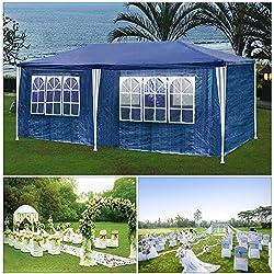 HGR carpas carpa 3x6m azul camping Posibilidad de playa construcción de acero Faltpavillon con gruesos postes de acero a prueba de agua adicionales ventana incl. 6 lados removibles marquesina