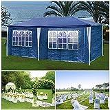 HG Partyzelt épinglé 3x6m bleu Camping Vereinszelt Pavillon pliant de plage Construction en acier avec tiges en acier extra-épais Fenêtre étanche incl. 6 côtés détachables Festzelt