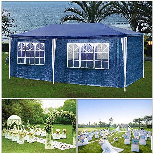Hg® partyzelt fissato 3x6m blu campeggio vereinszelt padiglione pieghevole da spiaggia costruzione in acciaio con aste in acciaio spessore extra finestra impermeabile incl. 6 lati smontabili festzelt