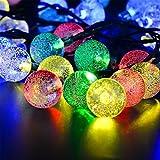 ERGEOB Solar betriebene 5m 20er LED Sternenklarer Lichterketten Weihnachtsbeleuchtung Dekorative Lichtstreifen bunt