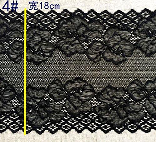 Schwarz 3Meter Grace bestickter Stretch Spitze Rand Trim Craft Schleiern 17,8cm breit - Spitze Stoff Trim Doll