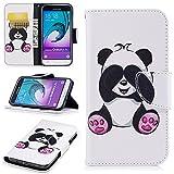Samsung Galaxy J3 Hülle Leder Flip Case Niedlich Panda Muster, Samsung Galaxy J3 2016 DUOS Lederhülle Protective Cover
