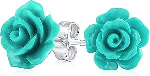 Romantico delicato floreale fioritura 3D intagliato 10MM Rose Flower Post Orecchini per donna Teen Leggero più colori