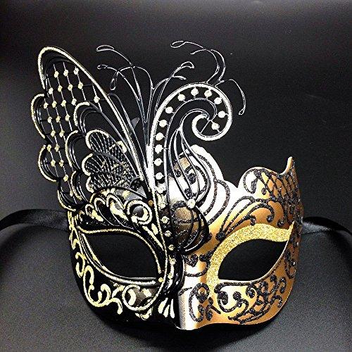 CCUFO [Flying Butterfly] Gold / Schwarzes Gesicht mit [Sparkling Wing] Laser Cut Metall venezianischen Frauen-Maske für Maskerade / Party / Ball Prom / Mardi Gras / Hochzeit / ()