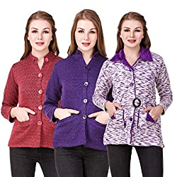 Kritika World Womens Wool Cardigan Dress (COAT_NHRU_RED_PURPLE_CVLVT_BLUE_Red Purple Blue_Medium)