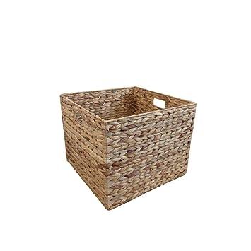 Natural Water Hyacinth Square Storage Basket Large