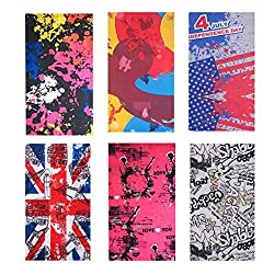 Sea Team 6-pack Assorted 12 in 1 Versatile Polyester Fiber Sports & Casual Headwear - Can be Used as Neck Gaiters, Bandannas, Balaclavas, Masks & More by Sea Team