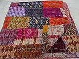 Tribal Asian Textiles Colcha de patchwork, estilo hindú vintage, hecha a mano, seda hindú