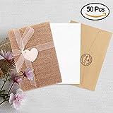 AerWo 50 Pack Sackleinen Rustikale Hochzeitseinladungen Kreative Einladungskarten mit Innenseiten, Umschläge, Adhesive Seals, Bänder und Liebe Herz Lesezeichen für Bauernhof Hochzeit, Woodland Hochzeit und Baby Shower