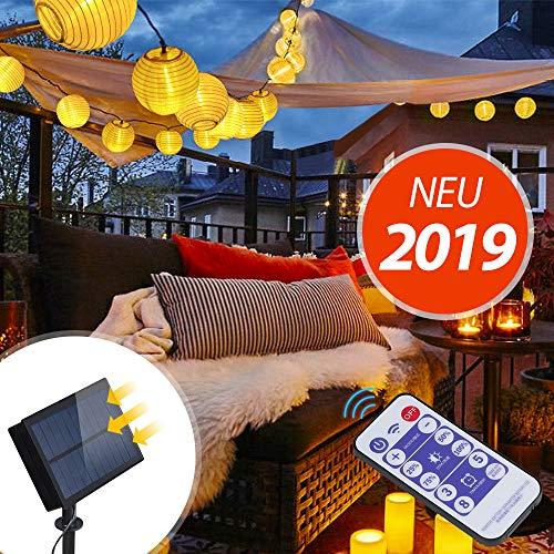 InnooTech 6m 30 LED Solar warmweiß Lampion Lichterkette mit 12 Tasten Fernbedienung mit 8 Modi und 2m Zuleitungskabel | 3.7V 1200mAh | 18650 Batterie als Latern Gartenbeleuchtung