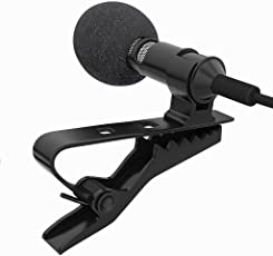Techonto Omni Directional Lavalier Condenser Multipurpose Lapel Clip Microphone for Smartphones, 3.5mm (Black, TC-LAPELMIC)