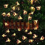 Trada Solar Biene Lichterkette, 30 LED Honig Biene Form Warm Licht Garten Dekoration Wasserdicht,Innen-und Außen Deko Glühbirne für Zuhause, Party, Weihnachten, Garten, Hochzeiten (Warmweiß)