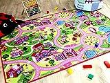 Tapis de jeu pour enfant Girls Little village rose motifs village - 17 tailles disponibles