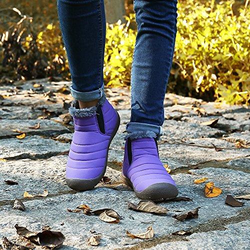 SAGUARO® Uomo Donna Stivali Invernali Outdoor Impermeabile Caldo Scarpe Piatto Caviglia Stivaletti Botas collo alto Viola