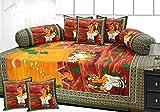 #10: Hargunz Diwan-e-khas Scenery Cotton 8 Piece Diwan Set - Green(dwn-ghodagadi-grn)
