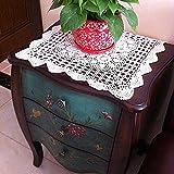 Yazi Tischdecke, quadratisch, weiß handgefertigt Anhäkeldeckchen Blume Sofa Cover für Schlafzimmer Wohnzimmer Dekoration 40cm