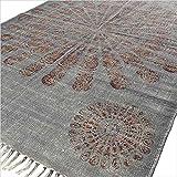 Eyes of India - Mandala Baumwolle Bedruckt Akzent Bereich Übertrocknet Dhurrie Teppich Flach zu Weben Hand Geflochten Boho Chic Indische Böhmisch - grau #1, 4 X 6 ft. (120 X 180 cm)