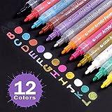 Jansroad Rotuladores de Pintura Acrílico , 12 Colores Marcadores para DIY, Dibujar, Colorear, Diseño de Taza , Sobre Madera, Piedras, Tela, Vidrio, Cerámica ,Metal