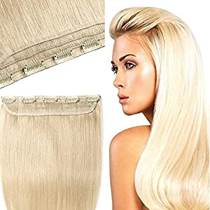 One Piece Clip in Hair Extension Human Hair 3/4 Head Real Remy Hair Extensions (#60 Platinum Blonde, 20 inches, 50g)