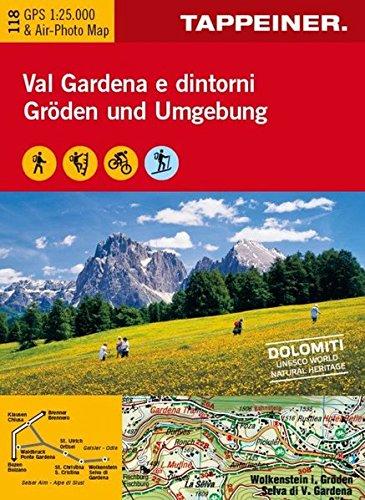 Cartina val Gardena e dintorni. Ediz. multilingue por Tappeiner
